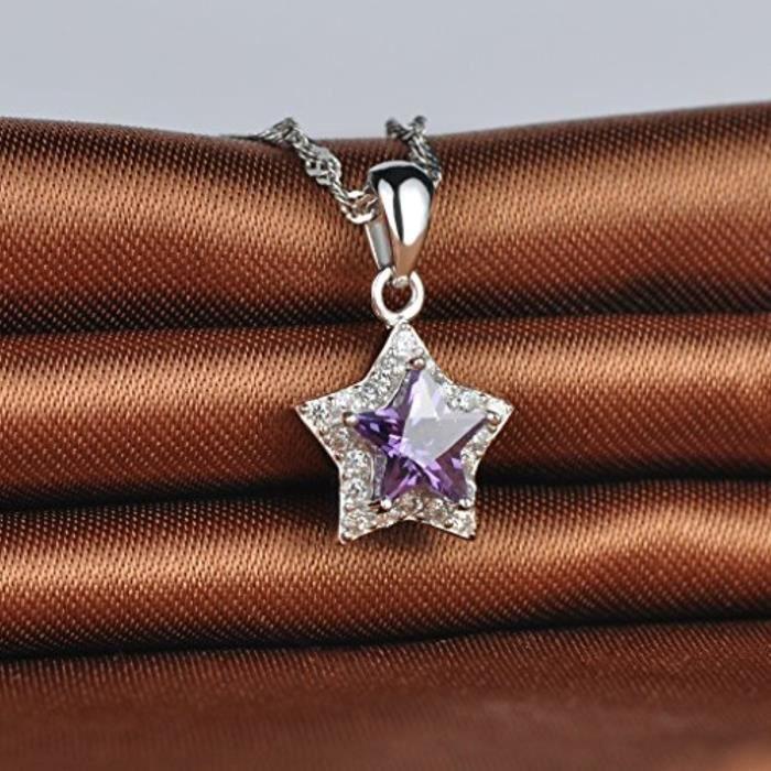 Collier Pendentif LÉtoile Violete Élégante Orné Zirconium En Argent Fin S925 Blanc Et Violet Pour Femme Fille Comme Cadeau