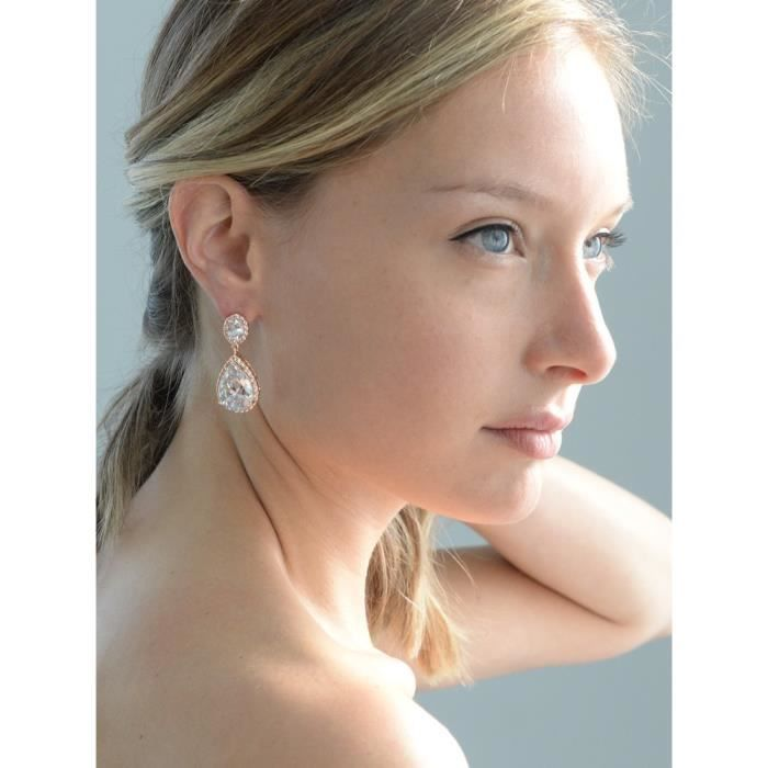 Womens Pierced Or Clip-on Bridal Earrings With Oval-cut Halos And Bold Pear-shaped Teardrop Dangle GUAPE