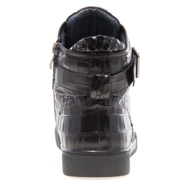 Sullivan bout rond hommes peint à la main en cuir à lacets glissière intérieure et bracelet haut-top Sneaker OF4NY Taille-43 sUdvczw4EQ