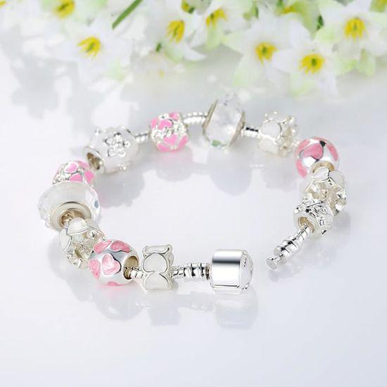 BAMORE Bracelet Charms Pandora Style Fille Rose Plaque Argent 925-1000  Blanc Verre Argent Charms Rose Émail Charmes 20cm - Achat   Vente bracelet  ... 3b681bbff2ed