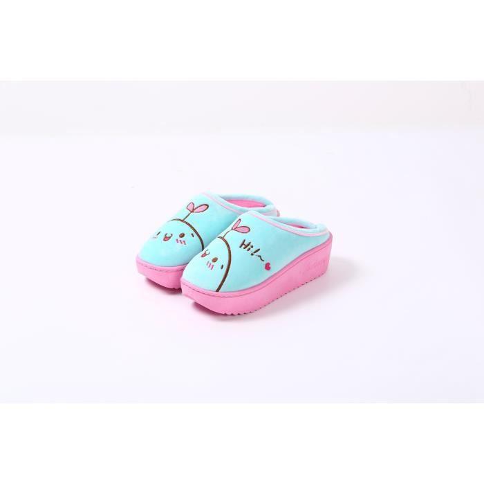 pantoufles dessin animé mignon dames couverture skid hiver mode fond épais femmes enceintes pantoufles confortables et chaudes,bleu