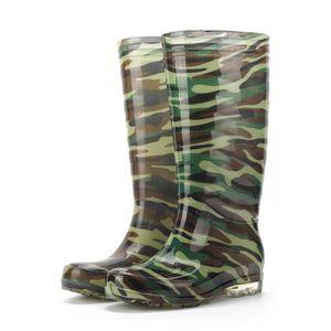 912a3bffc76 Loisirs rond plat Camouflage Chaussures Toe hommes imperméable à haute  Cylinder Botte de pluie-