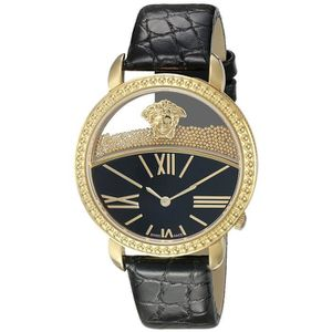 Versace Krios Femme 38mm Bracelet Cuir Noir Saphire Quartz Montre VAS030016 dd55c13c3ec