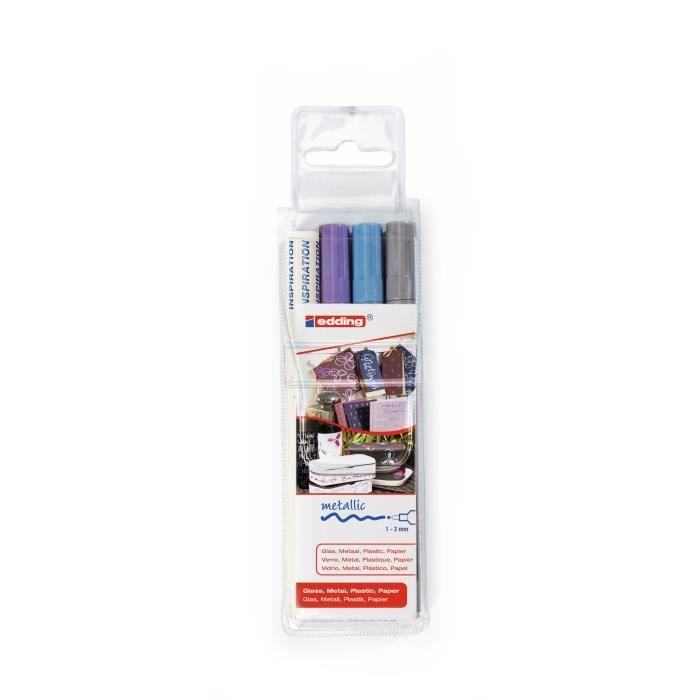 EDDING Assortiment de 3 marqueurs peintures E751 - Argent / Bleu clair métallisé / Violet métallisé