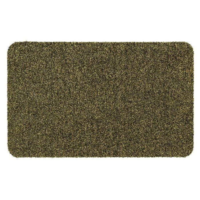 Couleur moutarde mouchetée de noir - Lavable 30° - 100% polyester - 50x80 cm - Usage intérieurTAPIS D'ENTREE - TAPIS DE SEUIL