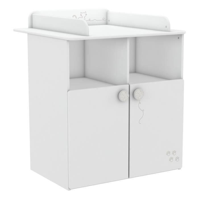 MISTIGRIS Commode table à langer - 70 x 55 cm - Blanc mat