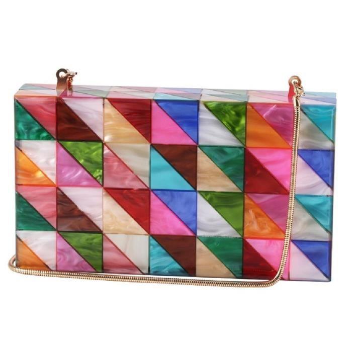 Acrylique Bourse dembrayage de Plexiglas Sacs à main Box pour la géométrie colorée desiger CS81I