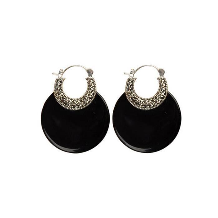 Argent Thai Onyx noir Boucles doreilles Rétro femmes