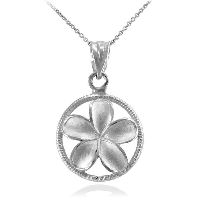 Collier Femme Pendentif 14 Ct Or Blanc Côtelé Cercle Hawaiienne Plumeria Fleur Charme (Livré avec une 45cm Chaîne)