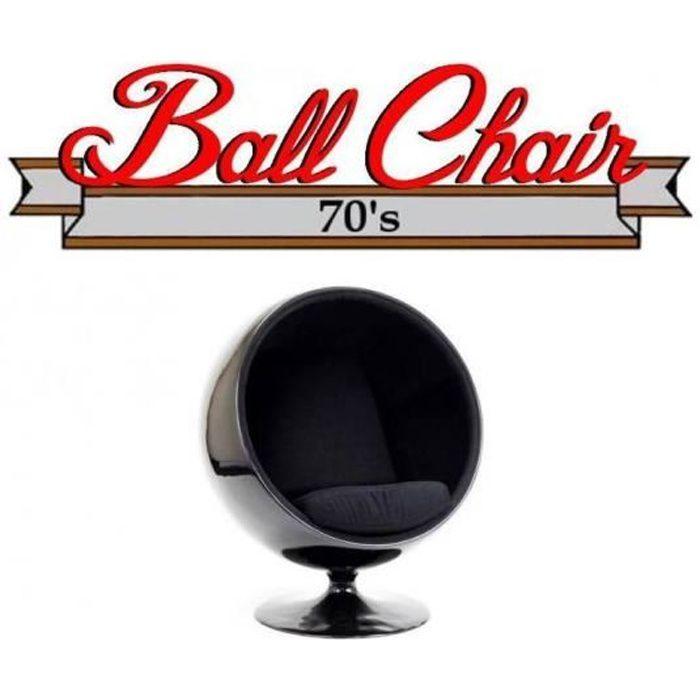 Fauteuil boule Ball chair coque noir intérieur velours noir