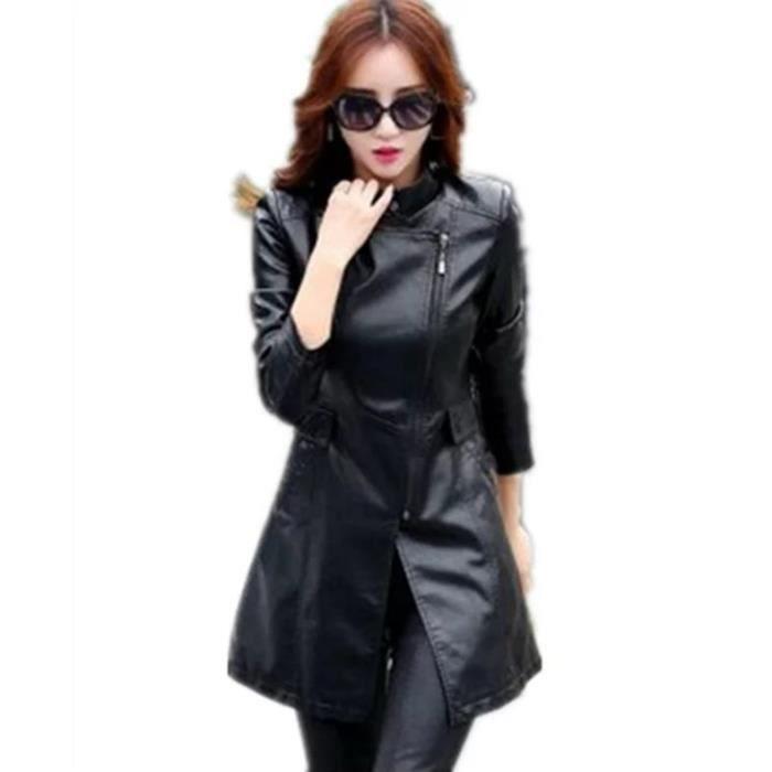 Manteau printemps cuir femme