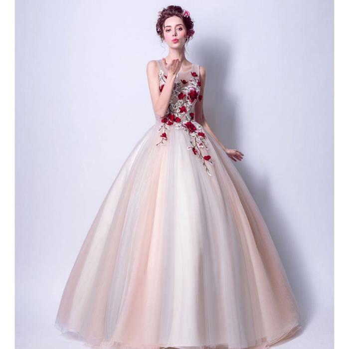 Robe longue de princesse fleurs femmes pour c r monie for Nettoyage de robe de mariage milwaukee