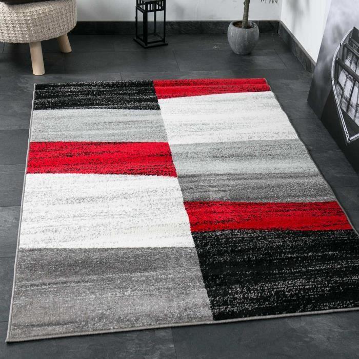 Tapis De Salon Géométriques Rouge Gris Blanc Et Noir 120x170 Cm