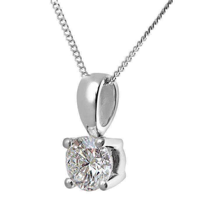 Revoni - Collier pendentif en or blanc 18 carats et diamant solitaire H-SI - REVCDPP04194W18HSI