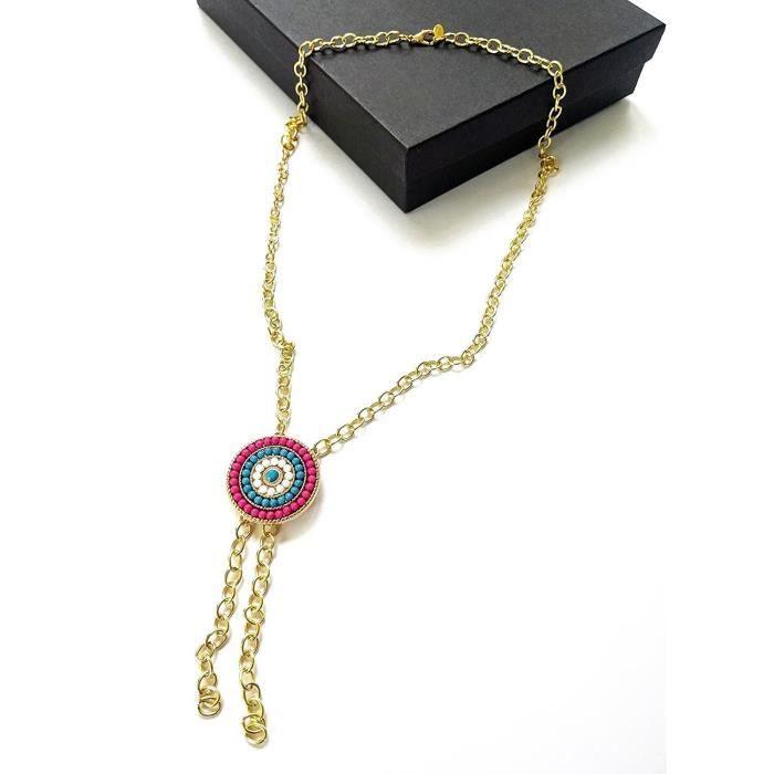 Womens Western Concho Lariat Tassel Chain Necklace Beaded Mandala Charm 28 Inch Bolo QU1HC
