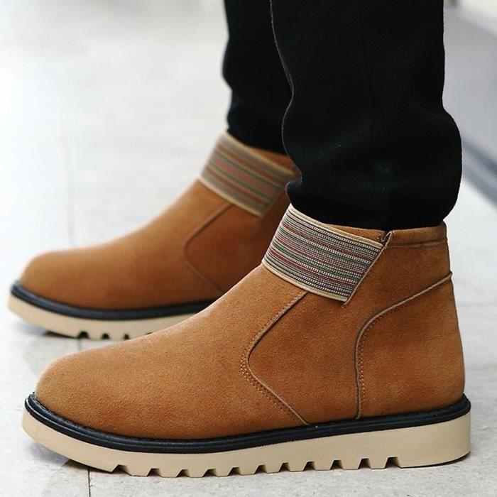 chaud de Mode Bottes Laine cuir neige Hommes en antidérapants Suede qpwxZSgn4W