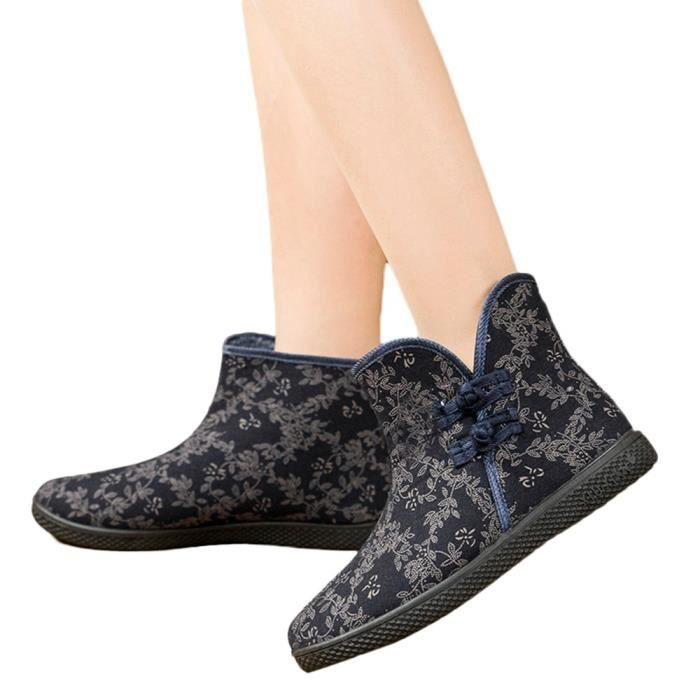 Souliers aged En slip Simples Velvet Plates Chaussures Plus Middle Femme Bleu Shoesnon fwqwOTFZ8z