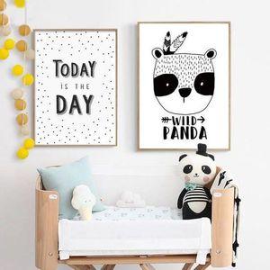 OBJET DÉCORATION MURALE Affiche imprimé panda affiche panda noir toile bla