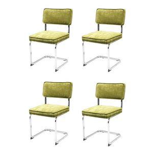 CHAISE MANU Lot de 4 chaises de salle à manger - Velours