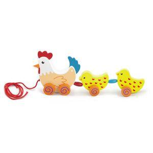 JOUET À TIRER Poule et poulets jouet à tirer en bois bébé enfant