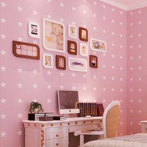 5pcs Papier Peint Rose Romantique étoiles Moderne Déco Murale De Maison
