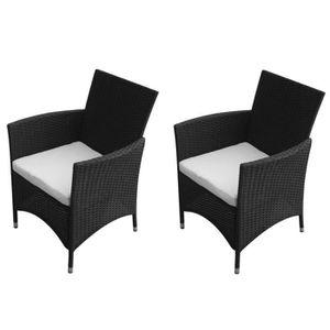 FAUTEUIL JARDIN  Chaises de jardin 2 pièces Rotin synthétique Noir