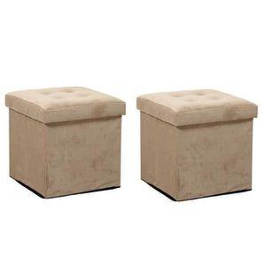 POUF - POIRE SISSY Lot de 2 poufs coffres de rangement 38x38x38