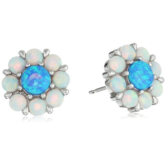 Jewel Panda Rhodié Ster Argent Round Créé Lumière Opal Round Créé Opal Earring