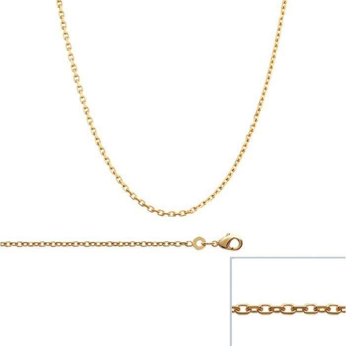Chaine Plaqué Or maille Forcat largeur 1,7mm (42 cm)