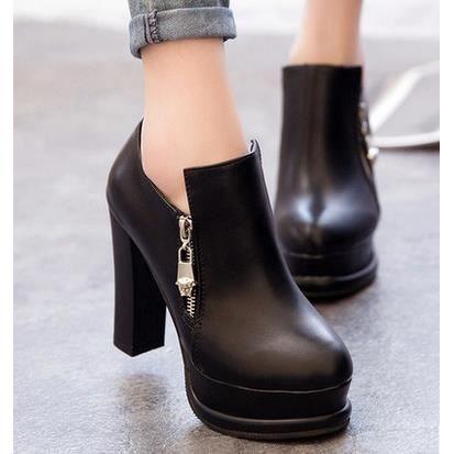 Les nouvelles chaussures de style britannique talons épais avec des chaussures imperméables, noir 38