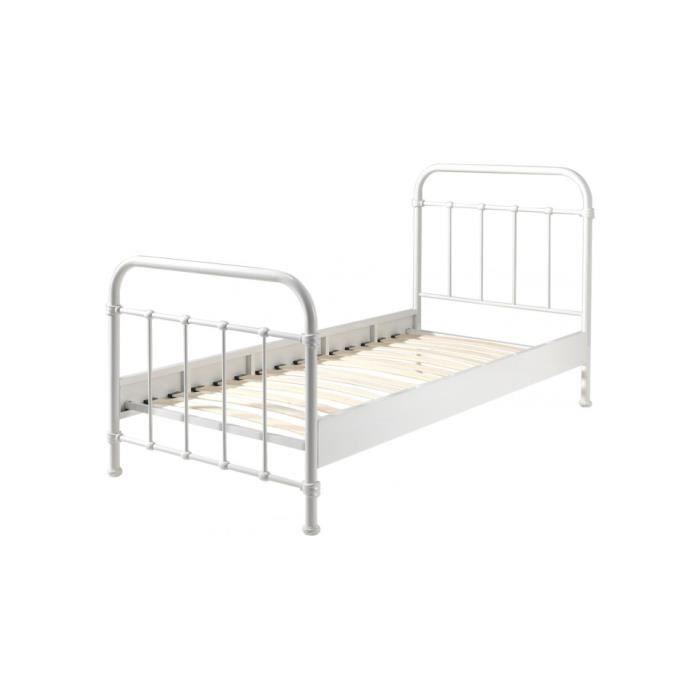 lit metal blanc 140 x 190 blog de conception de maison. Black Bedroom Furniture Sets. Home Design Ideas