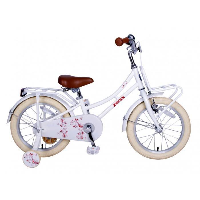 595744824506f5 Vélo Fille Zonix Oma 16 Pouces Frein à Rétropédalage et Stabilisateurs  Amovibles Blanc 85% Assemblé