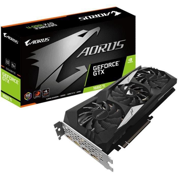 CARTE GRAPHIQUE INTERNE Gigabyte Aorus GeForce GTX 1660 Ti 6 Go