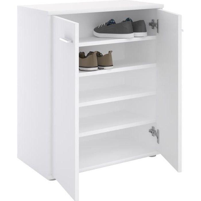 54898920e6c75 Meuble à chaussures OLYMPE, commode meuble de rangement avec 2 portes, en  mélaminé blanc mat