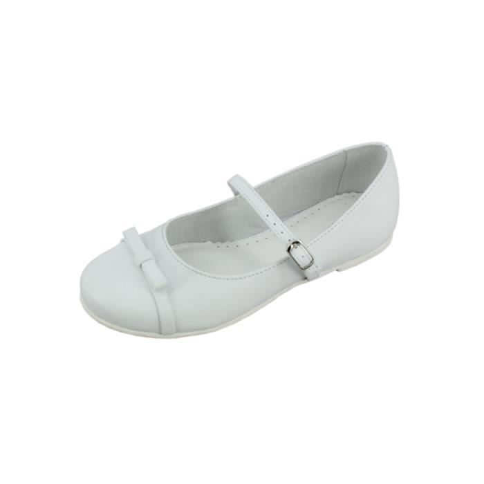 Chaussures blanches fille en cuir Haby