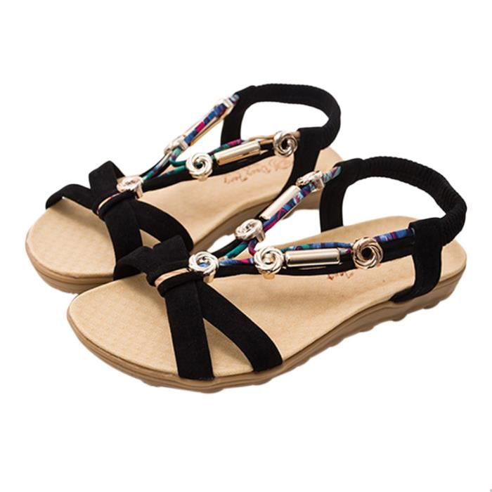 8ef4c993919ceb EOZY Bohémienne Sandale Femme Fille Plate Été Nu-Pieds Chaussure de Plage  Fashion Noir Noir Noir - Achat / Vente sandale - nu-pieds - Cdiscount