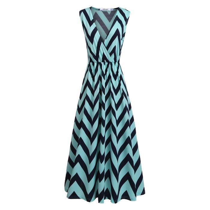 robe femmes décontractée à encolure en V à manches longues A-Line plissé Hem
