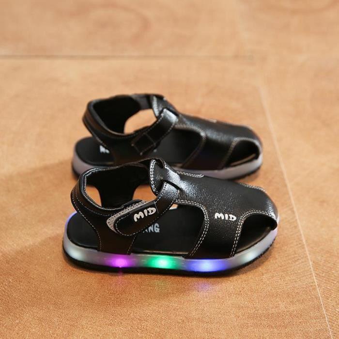 0efb1f6dbf84a Chaussures d été pour enfants Sandales LED Noir Noir - Achat   Vente ...