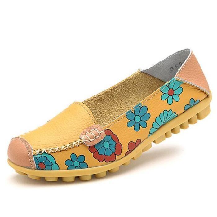 Moccasin femmes Travail à la main Confortable 2017 printemps Impression Chaussure Haut qualité Antidérapant Grande Taille