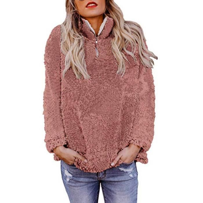Casual Solide Fluffy Sweat Rose Chaud Femmes Outwear Overs Hiver Zip 6qCSB