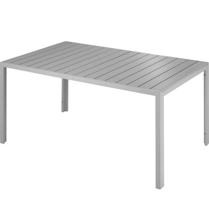 TECTAKE Table de Jardin Extérieure design Pieds réglables Cadre en  Aluminium 150 cm x 90 cm x 74,5 cm Gris