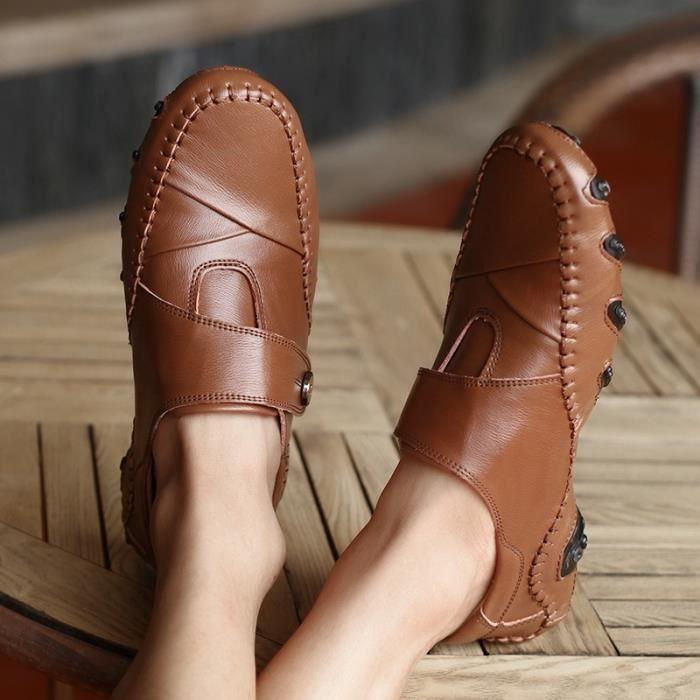chaussures en cuir décontractée en plein air luxe mode doux étudiants pour hommes occasionnels mocassins