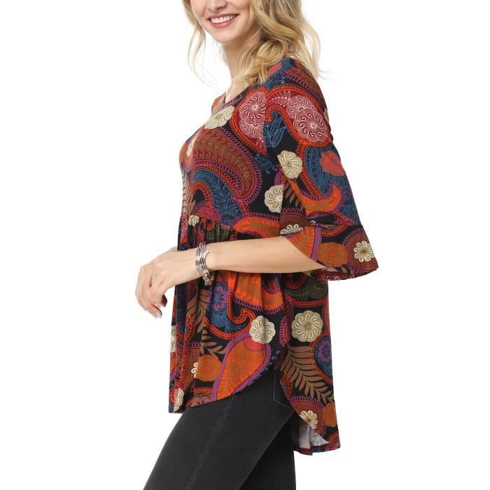 Ruffle Neck Detailed Women's Scoop 3 Taille Sleeve Blouse Tops X1wxw 4 Floral 38 5fwXII1q