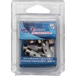 VOLTMAN Pack 10 Fusibles avec voyant de fusion 10,3 x 25,8 mm - 16 A - 230 V