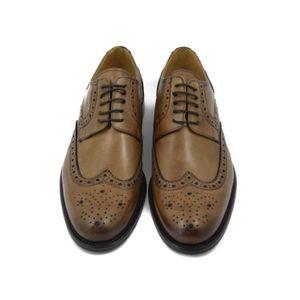 DERBY Exton chaussures homme cuir marron-Camel, modèle d