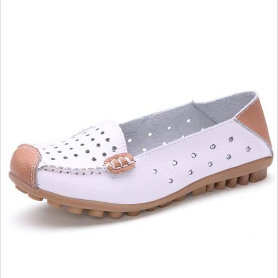 Mocassin xz044blanc35 Chaussure Cuir Bylg Leger Occasionnelles Femme QxBECWrode