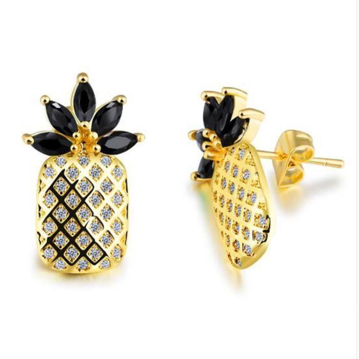 BoucleMignon Ananas Stud Boucles Doreilles Pour Les Femmes Bonbons Couleur CZ Zircon Feuilles Or Couleur Bijoux de la Partie Fe