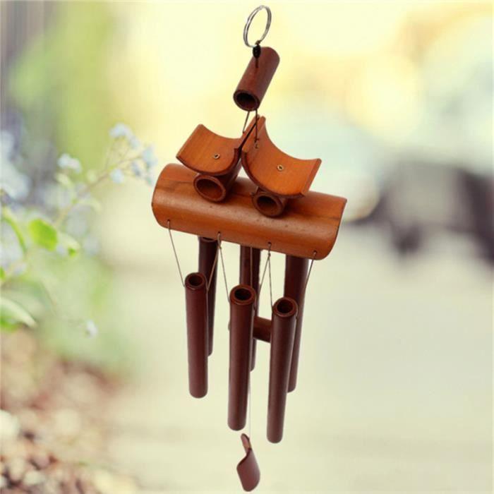 bambou vent carillon carillon feng shui avec anneau suspension jardin cour ornement d coration. Black Bedroom Furniture Sets. Home Design Ideas