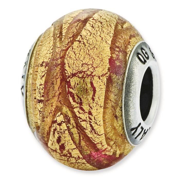 Argent Sterling réflexions italien cuivre et doré-Verre-Perle Charm couleur