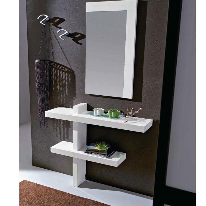 8fb63a506bfa34 Meuble mural d entrée design SANDY - Blanc - Achat   Vente meuble d ...